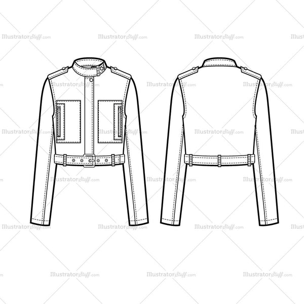 Cropped Military Jacket Flat Template Templates For Fashion