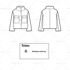 Cropped Parka Flat Template