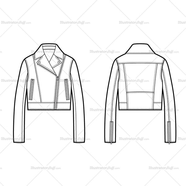 Cropped Moto Flat Template