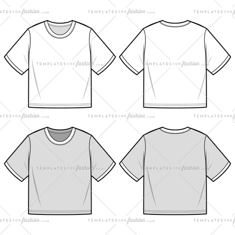 CROP TOP TEE fashion flat sketch template