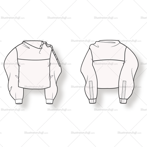 Shirt With Funnel Collar And Long Sleeves.