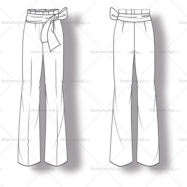 womens flared trouser pant fashion flat template