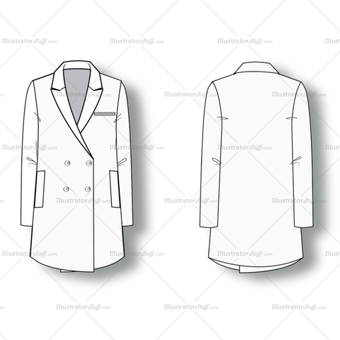 Double Breasted Blazer With Lapel Collar And Long Sleeves.
