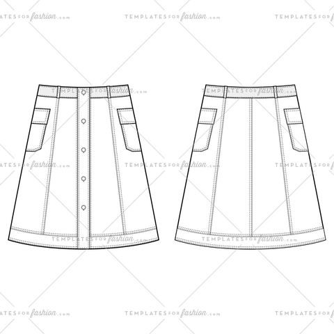 DENIM SKIRT Fashion Flat Templates