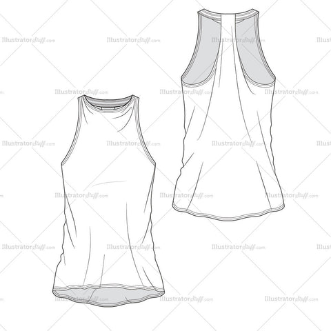 High Neck Bias Cut Racer Back Tank- Activewear Basics By Schauminchanel