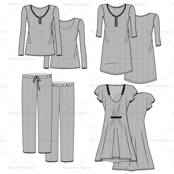 Women's Marl Pajama Fashion Flat Template