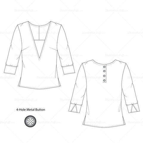 {Illustrator Stuff} Women's Deep V-Neck Blouse Fashion Sketch Template