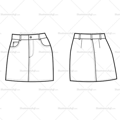 Women's Denim A-line Skirt Template