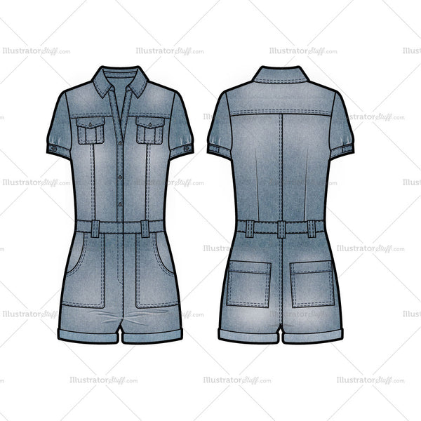 Short Sleeve Denim Romper Flat Template And Cad