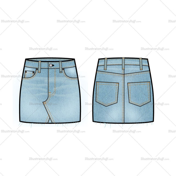 Denim Mini Skirt With Raw Hem Flat Template