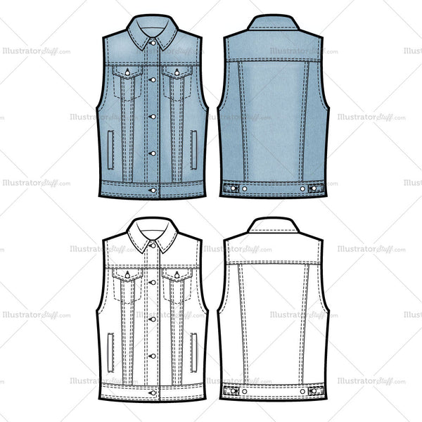 Denim Vest Flat Template