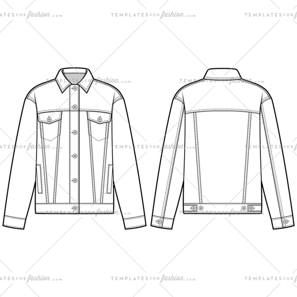 Denim Jacket Outer Fashion Flat Templates