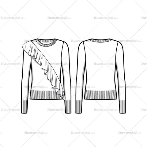 Diagonal Ruffle Sweater Flat Template