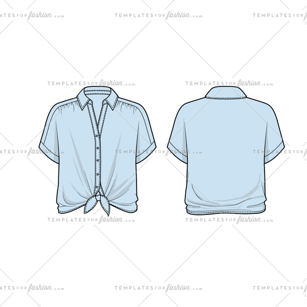 Women Sketch of Dolman Sleeve Collar Shirt