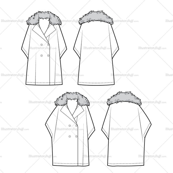 Double Breasted Cape Coat Flat Template