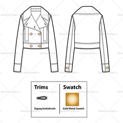 Double Breasted Cropped Jacket Flat Template