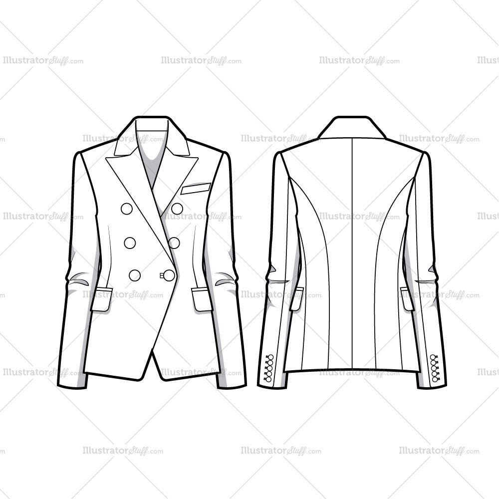Double Breasted Tailored Blazer Jacket Flat Template