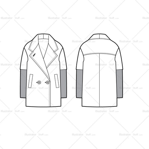 Double-breasted Peacoat Flat Template