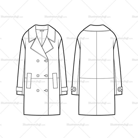 Double Breasted Oversized Coat Flat Template