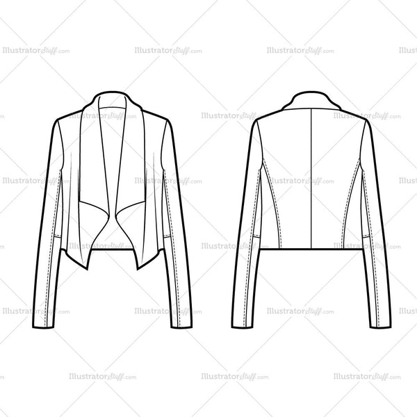 Women's Drape Front Jacket Flat Template