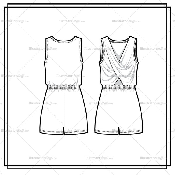 Draped Cross Back Tank Romper Flat Template