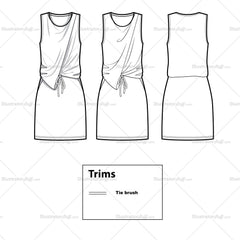 Drapey Asymmetrical Waist Tie Dress