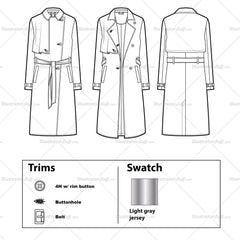 Drapey Storm Flap Trench Coat Flat Template