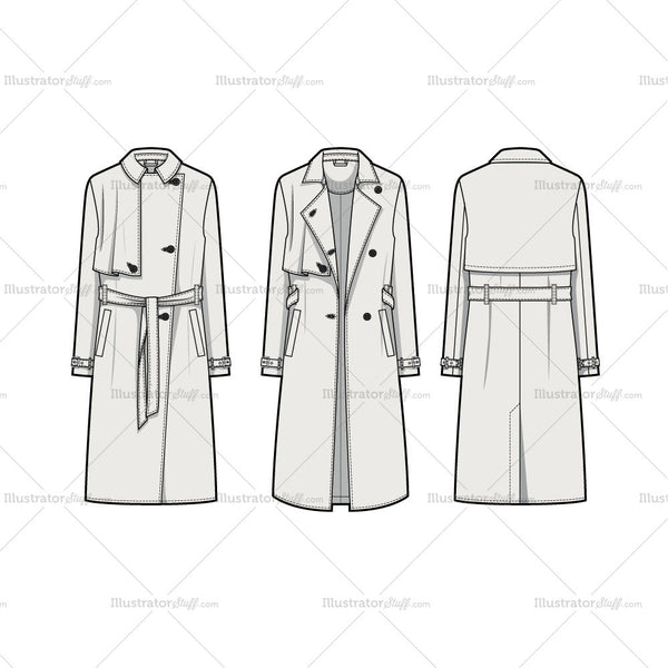 Drapey Storm Flap Trench Coat Flat Template – Templates ...