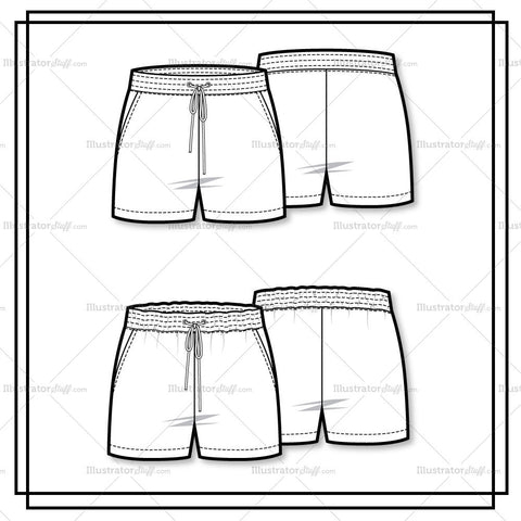 Drawstring Shorts Flat Template
