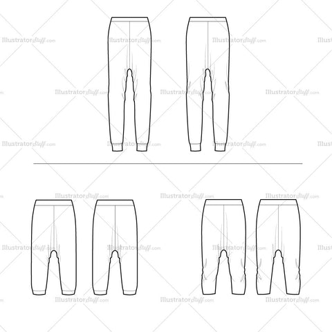 Drop Crotch Pants Variety Flat Template