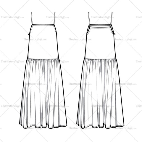 Drop Waist Sun Dress Flat Template