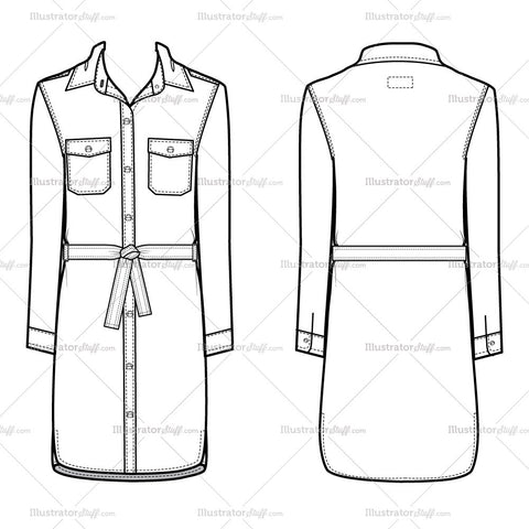 Women's Belted Shirt Dress Fashion Flat Template