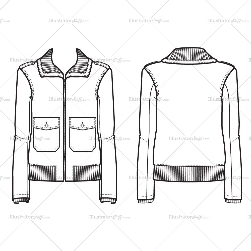clothing templates for illustrator - women 39 s bomber jacket fashion flat template illustrator