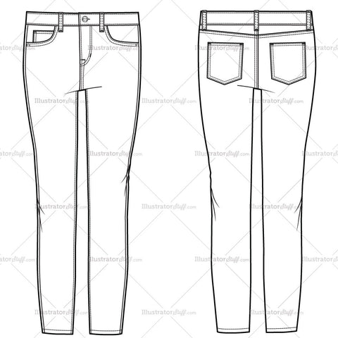 Women's Crop Skinny Jean Fashion Flat Template