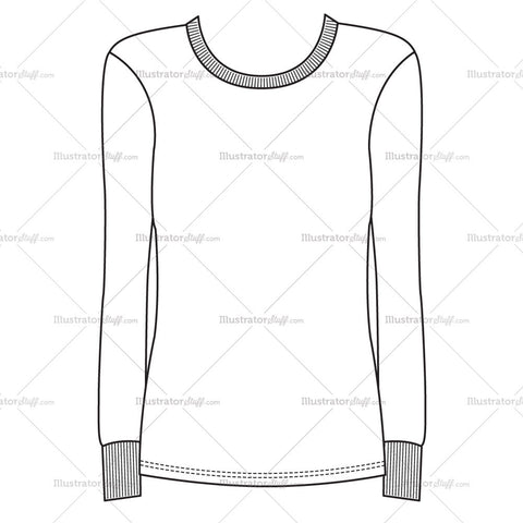 Women's Long Sleeve Rib Crewneck Fashion Flat Template