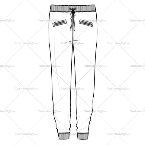 Women's Moto Zip Sweatpant Fashion Flat Template