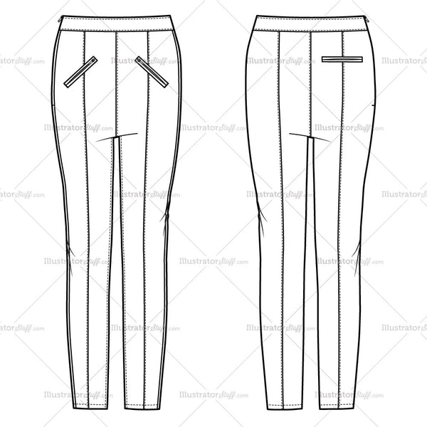 Women's Side Zip Moto Seamed Trouser Fashion Flat Template