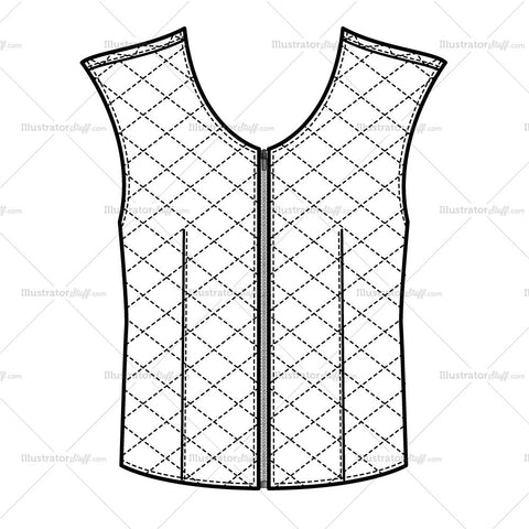 Women's Quilted Vest Fashion Flat Template