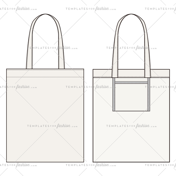 2 ECO BAG fashion flat sketch template