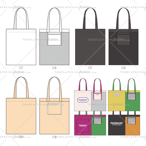 ECO Bag set Fashion flat technical drawing vector template