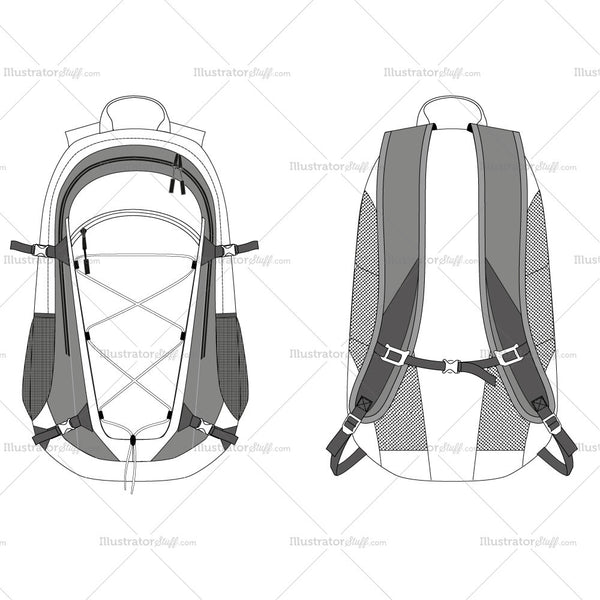 Travel Backpack Fashion Flat Template