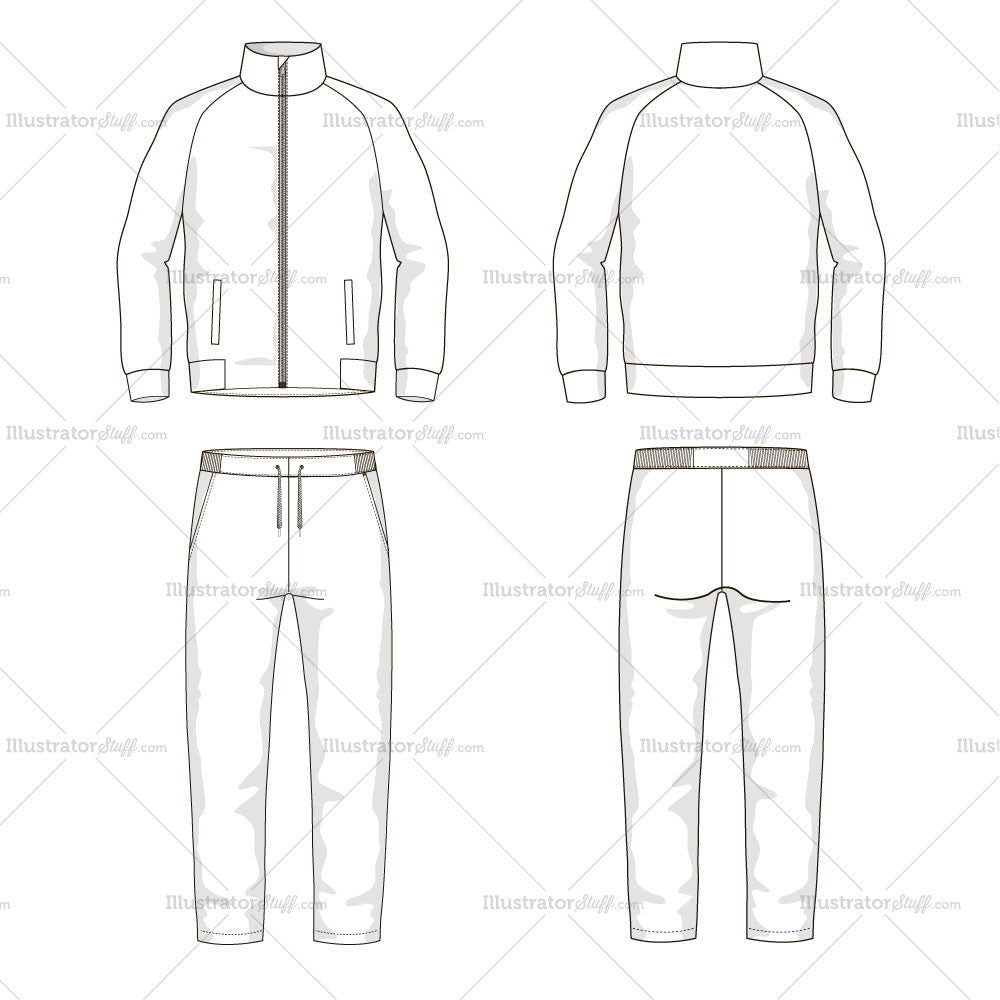 Men S Sport Suit Fashion Flat Template Illustrator Stuff