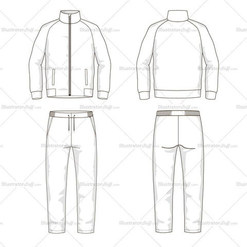 Men's Sport Suit Fashion Flat Template