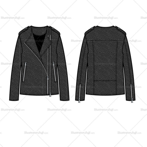 Elongated Leather Moto Jacket Flat Template