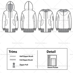 Elongated Shirred Bomber Flat Template