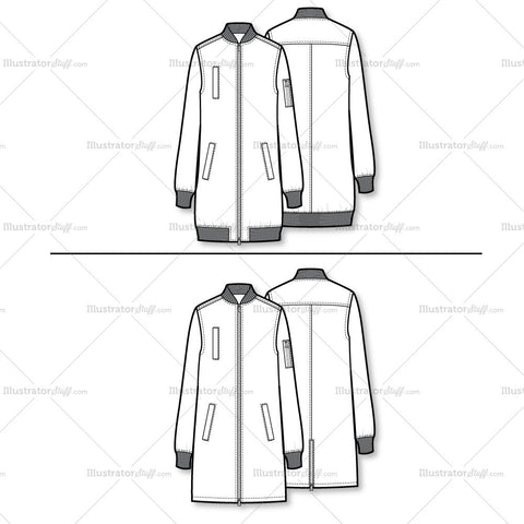 Elongated Bomber Flat Template