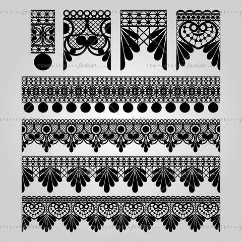 Embroidery Lace Trim Brush Set Vector illustration