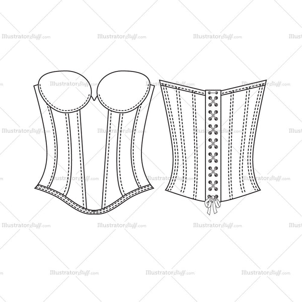Women's Corset Fashion Flat Template