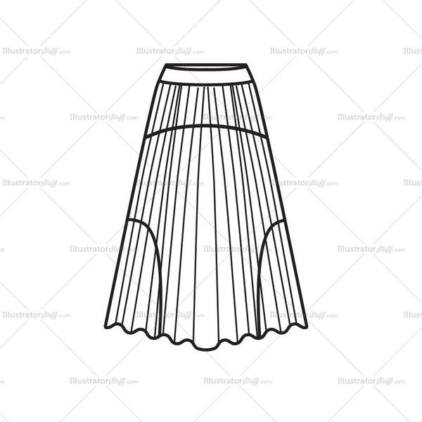 Women's Pleated Skirt Fashion Flat Template