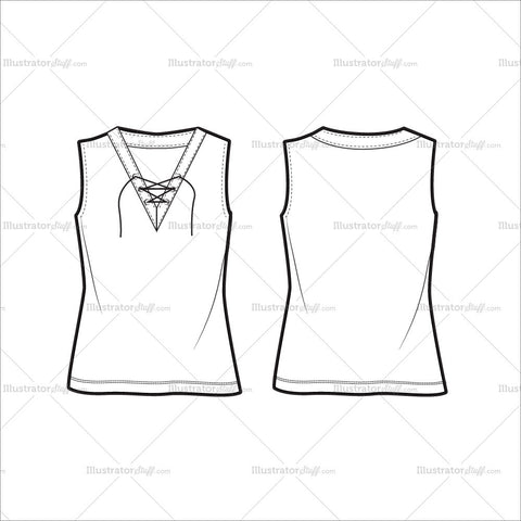 Women's Sleeveless Blouse Fashion Flat Template